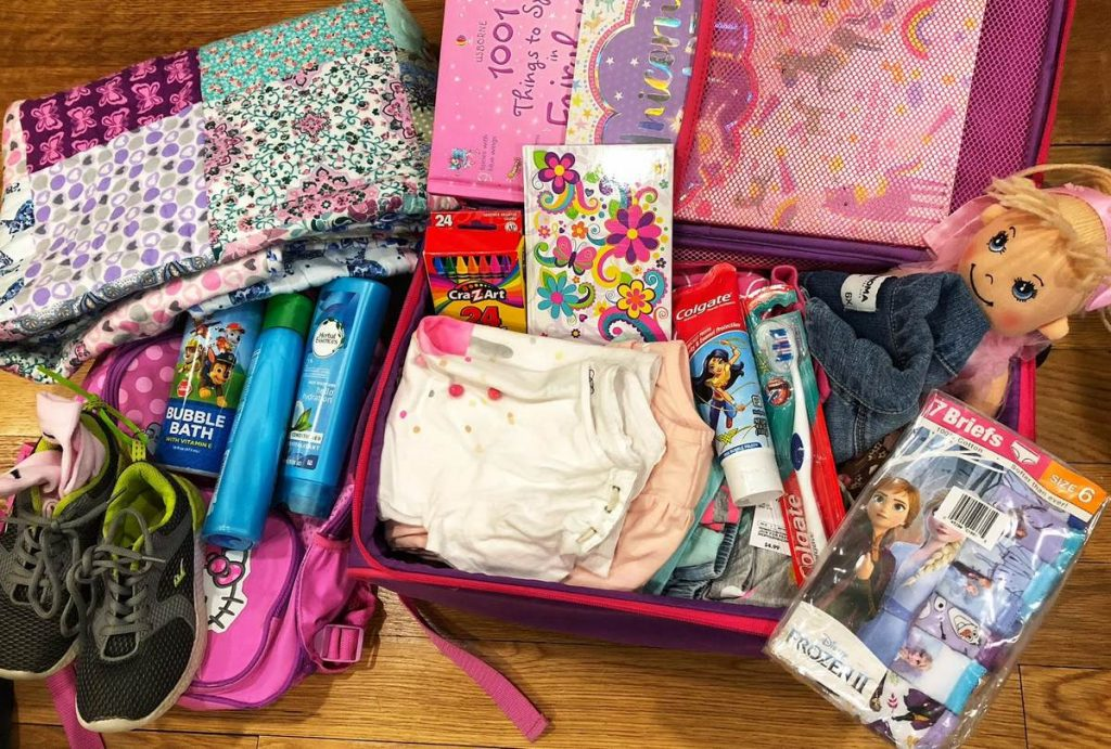 Many donated items that became a care package for a 5 year old girl