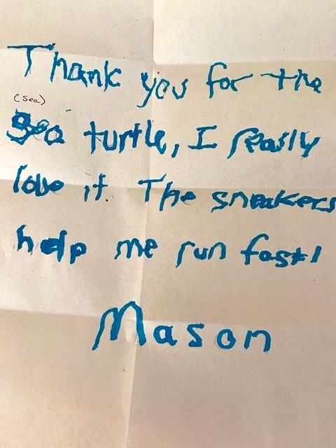 Thank you note from a foster child